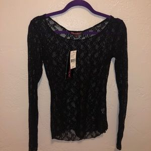 Black Betsey Johnson lace top size small